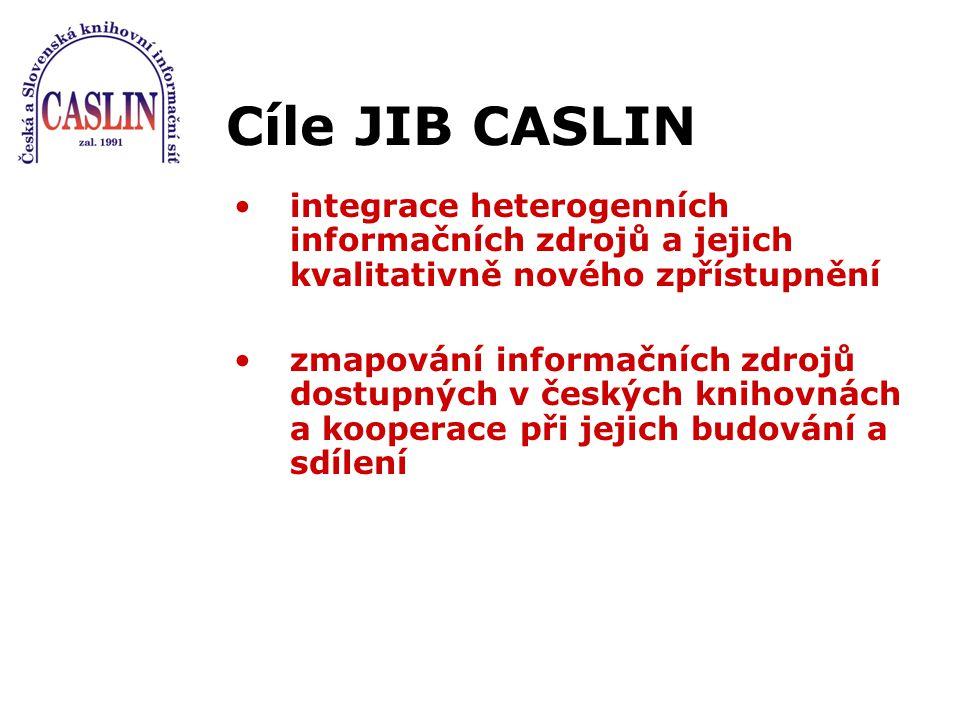 Cíle JIB CASLIN integrace heterogenních informačních zdrojů a jejich kvalitativně nového zpřístupnění zmapování informačních zdrojů dostupných v český