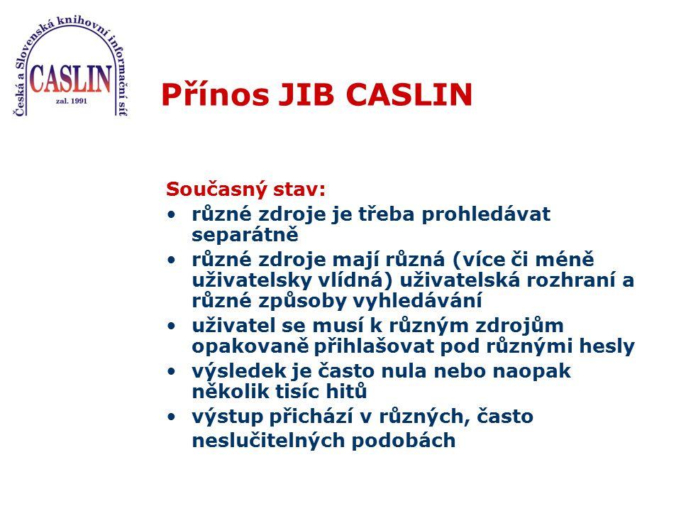 Přínos JIB CASLIN Současný stav: různé zdroje je třeba prohledávat separátně různé zdroje mají různá (více či méně uživatelsky vlídná) uživatelská roz