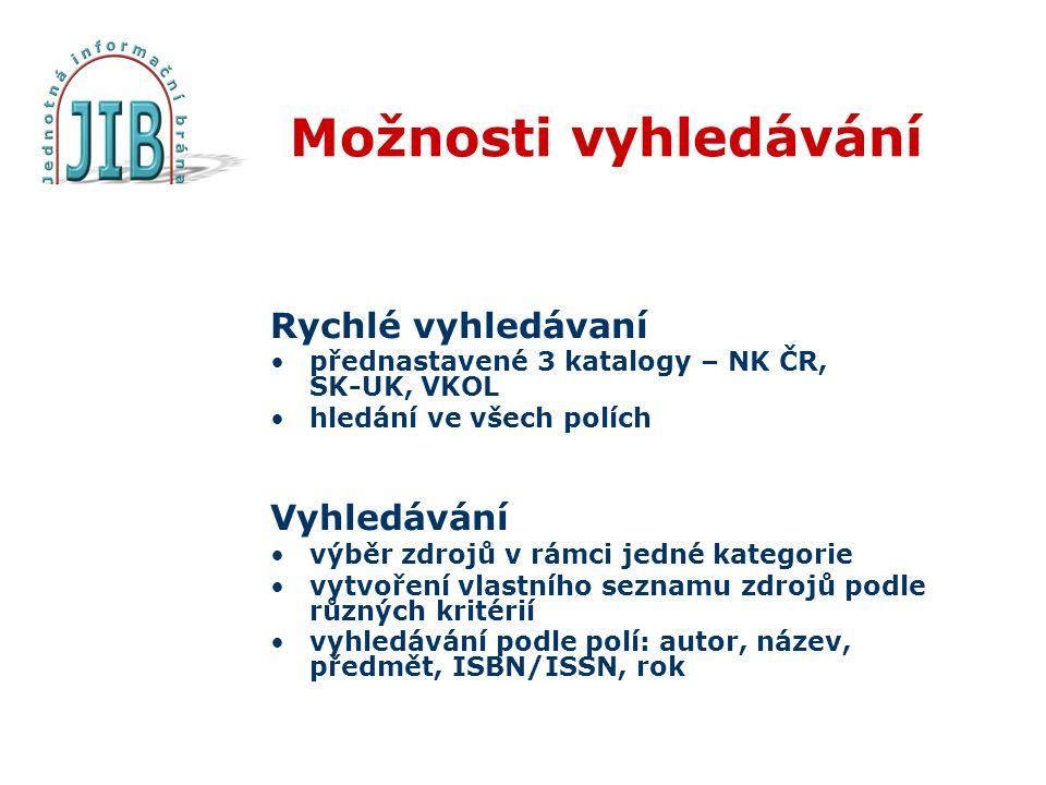 Možnosti vyhledávání Rychlé vyhledávaní přednastavené 3 katalogy – NK ČR, SK-UK, VKOL hledání ve všech polích Vyhledávání výběr zdrojů v rámci jedné kategorie vytvoření vlastního seznamu zdrojů podle různých kritérií vyhledávání podle polí: autor, název, předmět, ISBN/ISSN, rok