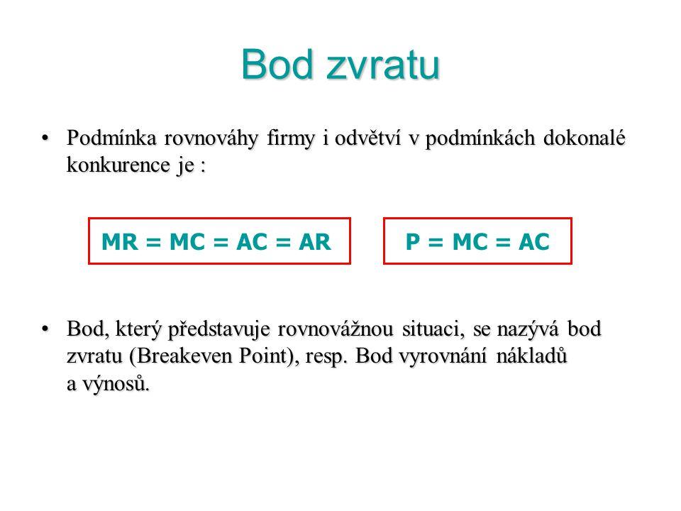 Rovnováha v dokonale konkurenčním odvětví v SR Nastává, jestliže při krátkodobé rovnovážné ceně P* se rovná poptávané a nabízené množství statku (tzn.