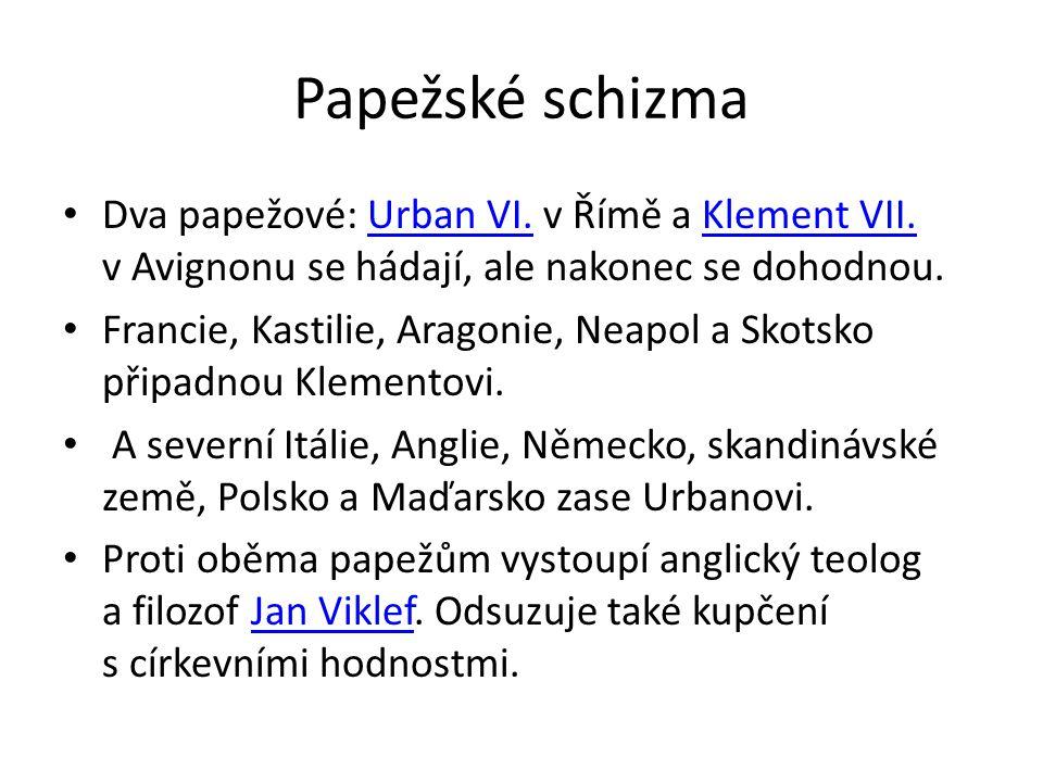 Papežské schizma Dva papežové: Urban VI.v Římě a Klement VII.