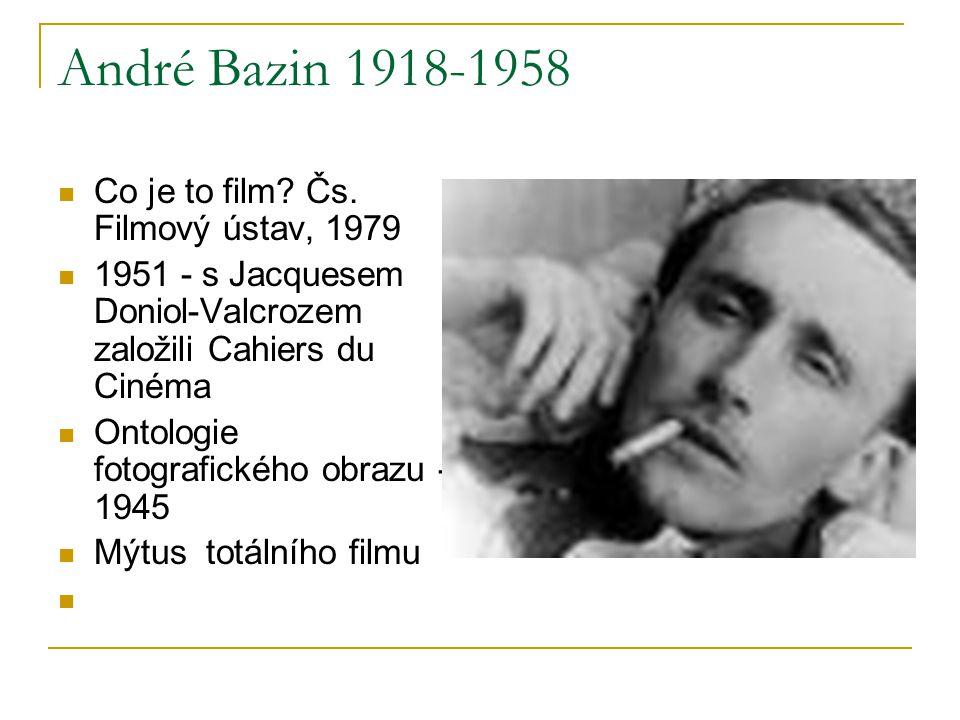 André Bazin 1918-1958 Co je to film? Čs. Filmový ústav, 1979 1951 - s Jacquesem Doniol-Valcrozem založili Cahiers du Cinéma Ontologie fotografického o