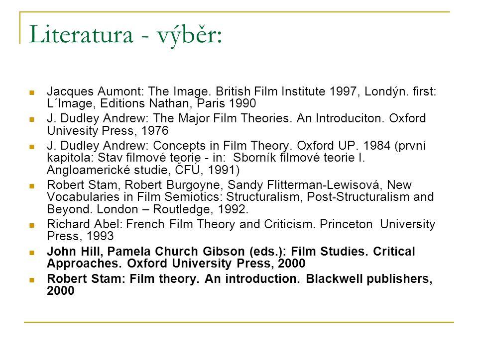 Literatura - výběr: Jacques Aumont: The Image. British Film Institute 1997, Londýn. first: L´Image, Editions Nathan, Paris 1990 J. Dudley Andrew: The