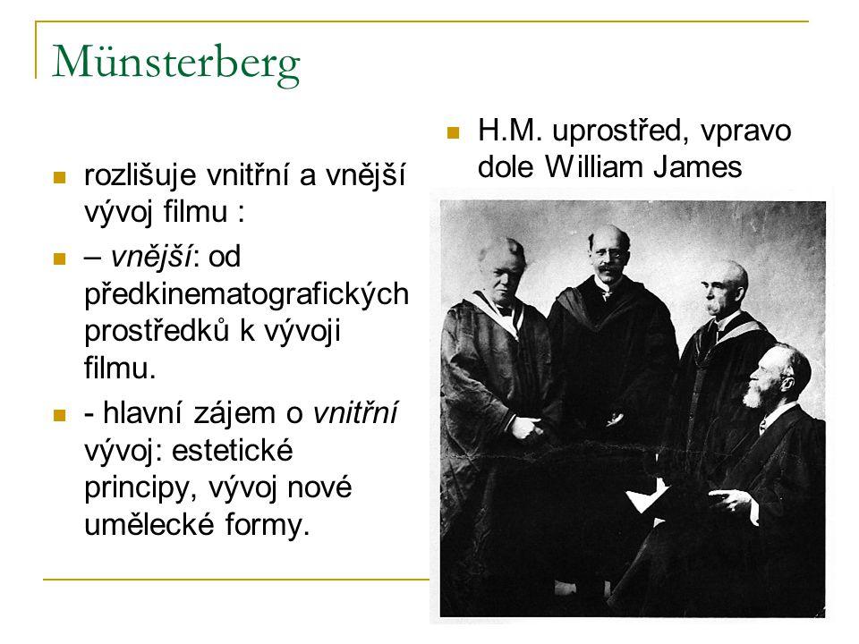 Münsterberg rozlišuje vnitřní a vnější vývoj filmu : – vnější: od předkinematografických prostředků k vývoji filmu. - hlavní zájem o vnitřní vývoj: es