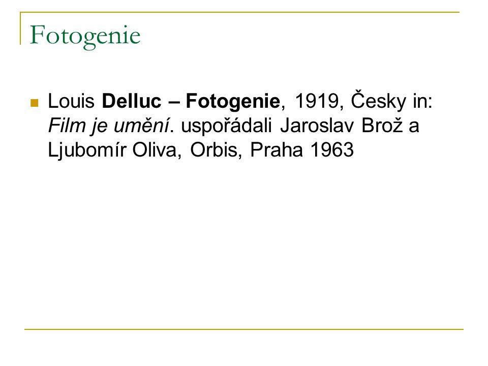 Fotogenie Louis Delluc – Fotogenie, 1919, Česky in: Film je umění. uspořádali Jaroslav Brož a Ljubomír Oliva, Orbis, Praha 1963