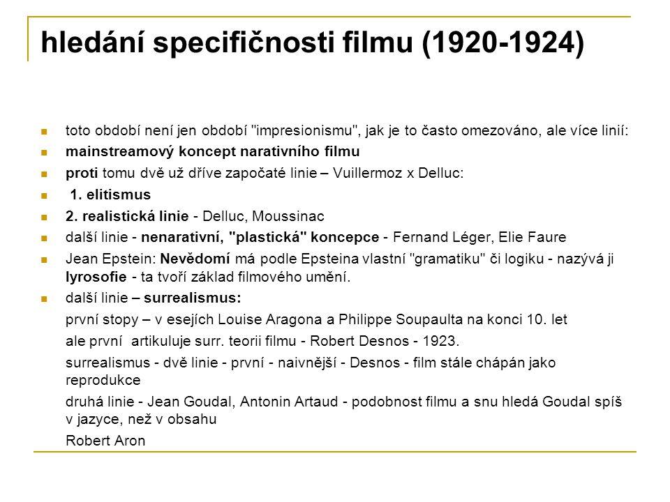 hledání specifičnosti filmu (1920-1924) toto období není jen období
