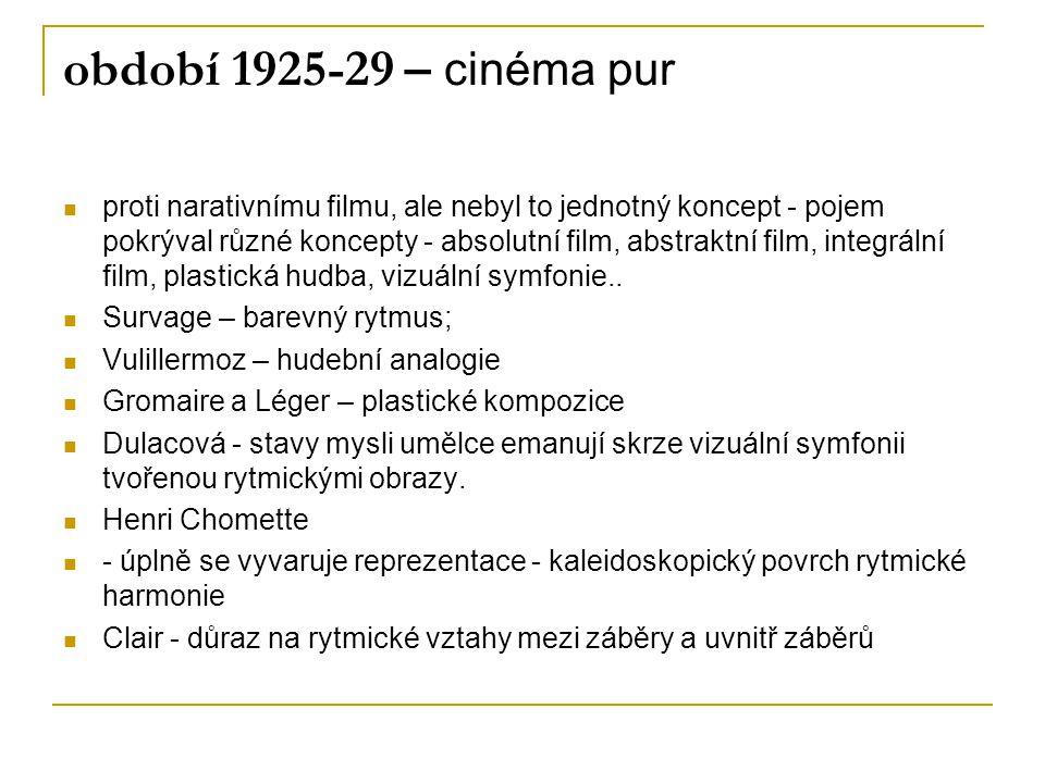 období 1925-29 – cinéma pur proti narativnímu filmu, ale nebyl to jednotný koncept - pojem pokrýval různé koncepty - absolutní film, abstraktní film,