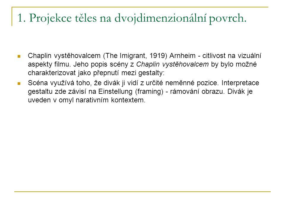 1. Projekce těles na dvojdimenzionální povrch. Chaplin vystěhovalcem (The Imigrant, 1919) Arnheim - citlivost na vizuální aspekty filmu. Jeho popis sc