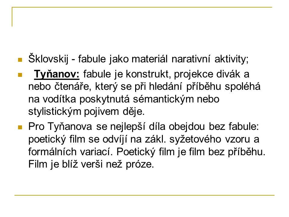 Šklovskij - fabule jako materiál narativní aktivity; Tyňanov: fabule je konstrukt, projekce divák a nebo čtenáře, který se při hledání příběhu spoléhá