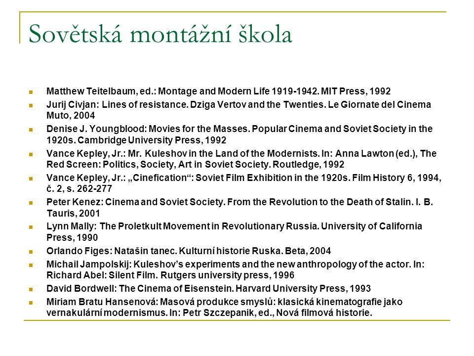 Sovětská montážní škola Matthew Teitelbaum, ed.: Montage and Modern Life 1919-1942. MIT Press, 1992 Jurij Civjan: Lines of resistance. Dziga Vertov an