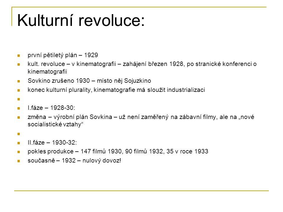 Kulturní revoluce: první pětiletý plán – 1929 kult. revoluce – v kinematografii – zahájení březen 1928, po stranické konferenci o kinematografii Sovki