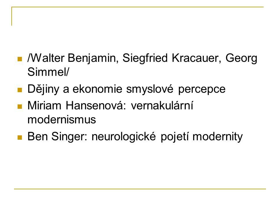 /Walter Benjamin, Siegfried Kracauer, Georg Simmel/ Dějiny a ekonomie smyslové percepce Miriam Hansenová: vernakulární modernismus Ben Singer: neurolo
