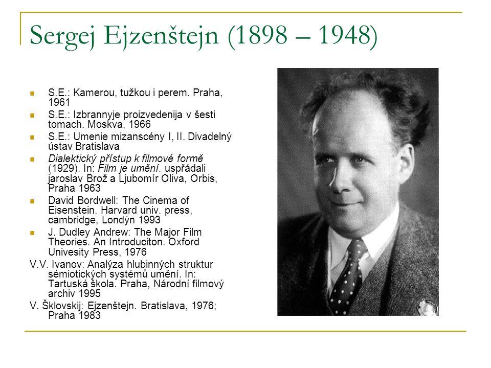 Sergej Ejzenštejn (1898 – 1948) S.E.: Kamerou, tužkou i perem. Praha, 1961 S.E.: Izbrannyje proizvedenija v šesti tomach. Moskva, 1966 S.E.: Umenie mi