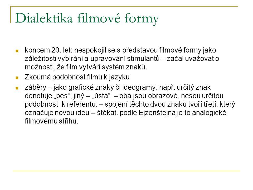 Dialektika filmové formy koncem 20. let: nespokojil se s představou filmové formy jako záležitosti vybírání a upravování stimulantů – začal uvažovat o