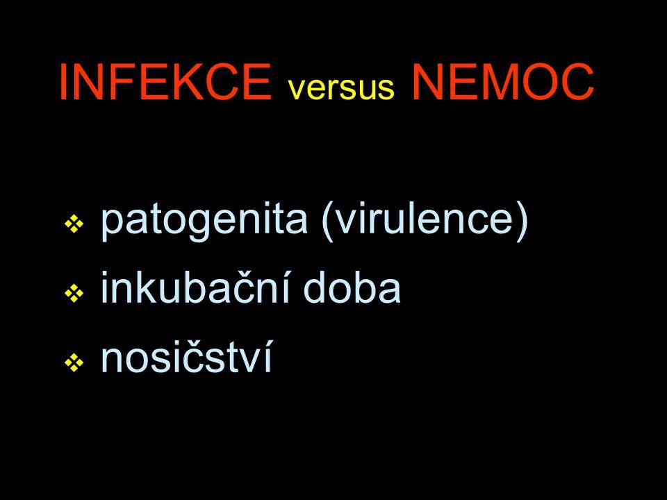 INFEKCE versus NEMOC v patogenita (virulence) v inkubační doba v nosičství