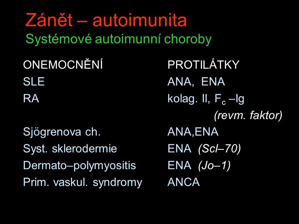 Zánět – autoimunita Systémové autoimunní choroby ONEMOCNĚNÍ SLE RA Sjögrenova ch. Syst. sklerodermie Dermato–polymyositis Prim. vaskul. syndromy PROTI