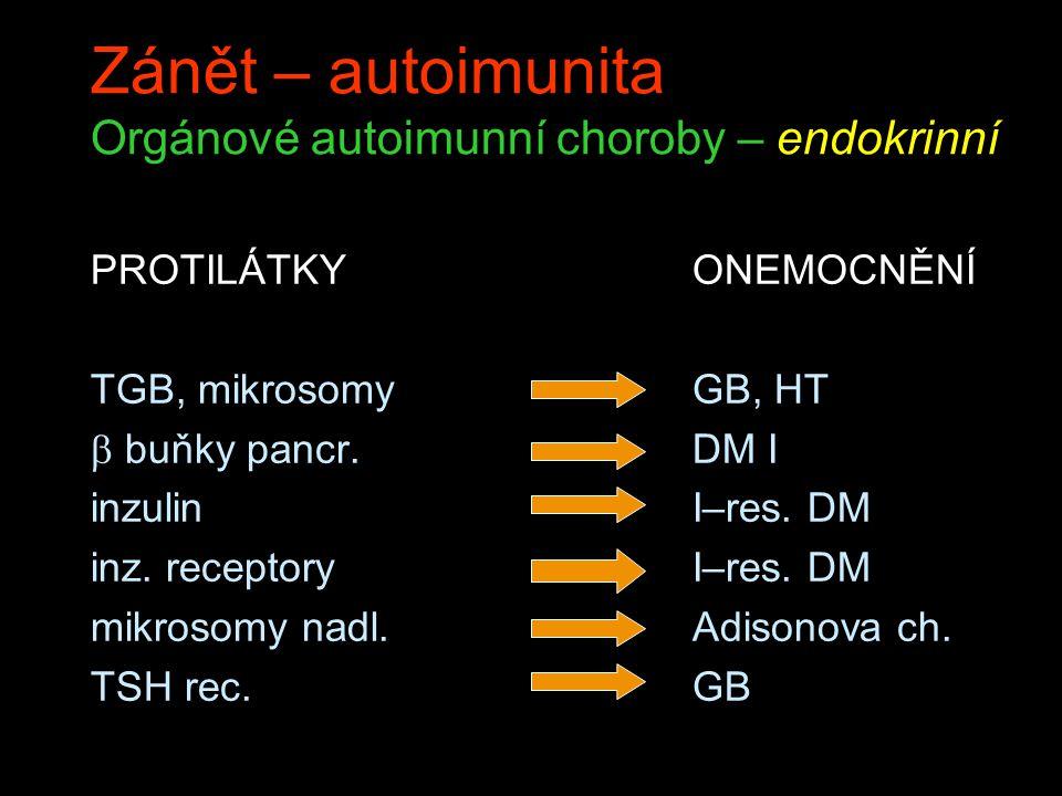Zánět – autoimunita Orgánové autoimunní choroby – endokrinní PROTILÁTKY TGB, mikrosomy  buňky pancr. inzulin inz. receptory mikrosomy nadl. TSH rec.