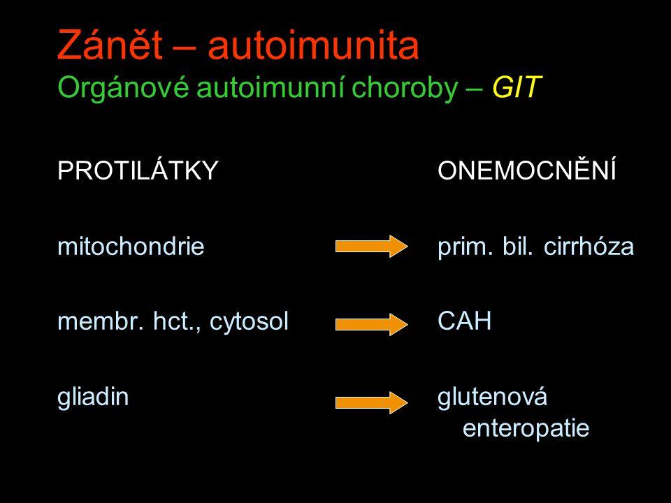 Zánět – autoimunita Orgánové autoimunní choroby – CNS PROTILÁTKY acetylcholin rec.