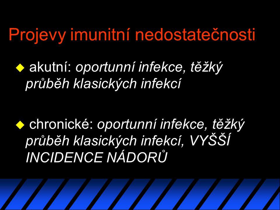 Projevy imunitní nedostatečnosti u akutní: oportunní infekce, těžký průběh klasických infekcí u chronické: oportunní infekce, těžký průběh klasických