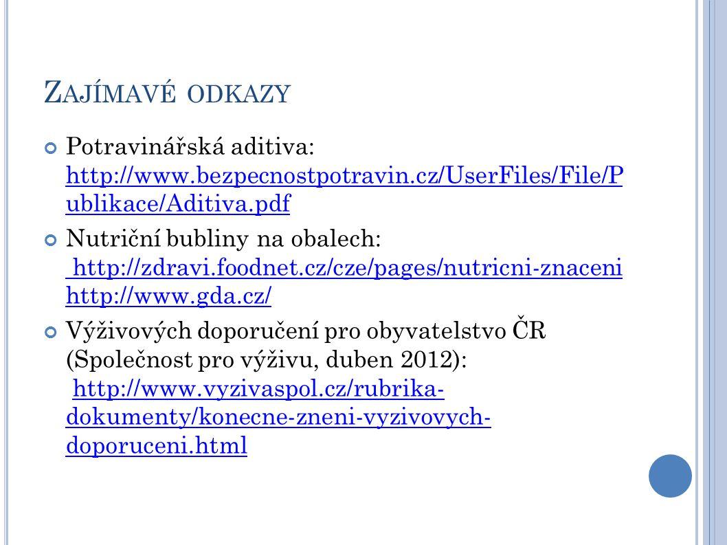 Z AJÍMAVÉ ODKAZY Potravinářská aditiva: http://www.bezpecnostpotravin.cz/UserFiles/File/P ublikace/Aditiva.pdf http://www.bezpecnostpotravin.cz/UserFiles/File/P ublikace/Aditiva.pdf Nutriční bubliny na obalech: http://zdravi.foodnet.cz/cze/pages/nutricni-znaceni http://www.gda.cz/ http://zdravi.foodnet.cz/cze/pages/nutricni-znaceni http://www.gda.cz/ Výživových doporučení pro obyvatelstvo ČR (Společnost pro výživu, duben 2012): http://www.vyzivaspol.cz/rubrika- dokumenty/konecne-zneni-vyzivovych- doporuceni.htmlhttp://www.vyzivaspol.cz/rubrika- dokumenty/konecne-zneni-vyzivovych- doporuceni.html