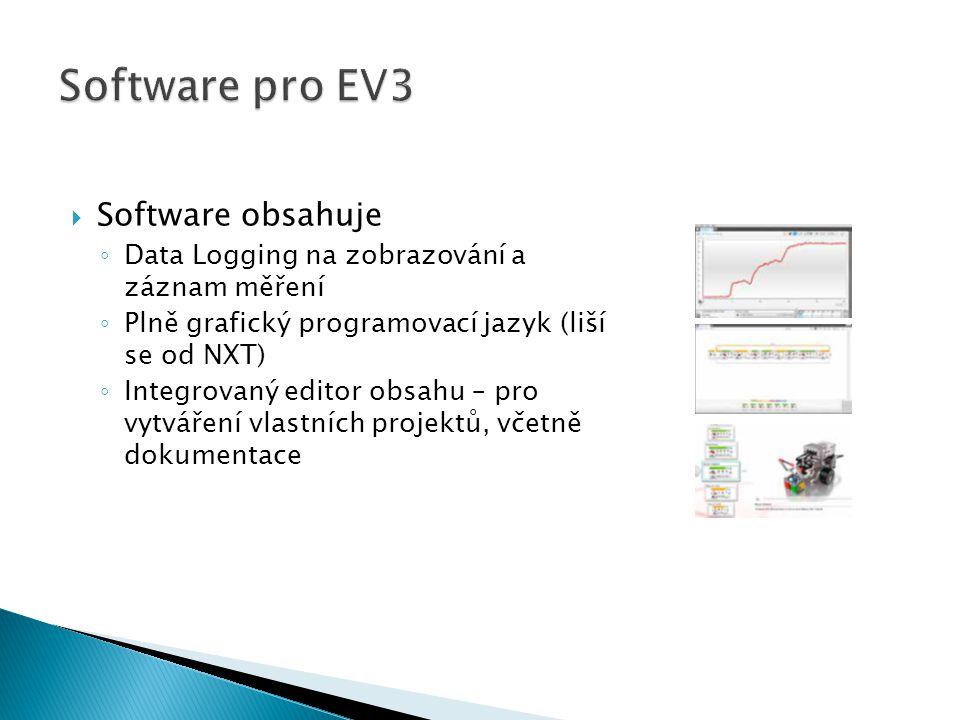  Software obsahuje ◦ Data Logging na zobrazování a záznam měření ◦ Plně grafický programovací jazyk (liší se od NXT) ◦ Integrovaný editor obsahu – pro vytváření vlastních projektů, včetně dokumentace