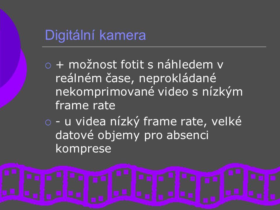 Digitální kamera  + možnost fotit s náhledem v reálném čase, neprokládané nekomprimované video s nízkým frame rate  - u videa nízký frame rate, velk