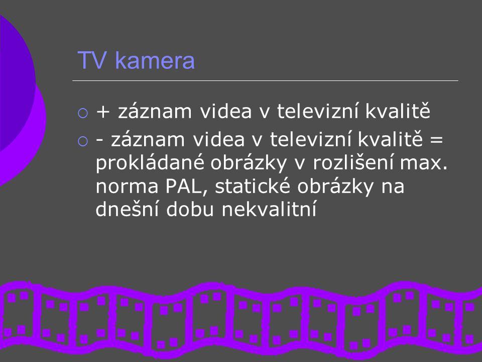 TV kamera  + záznam videa v televizní kvalitě  - záznam videa v televizní kvalitě = prokládané obrázky v rozlišení max. norma PAL, statické obrázky