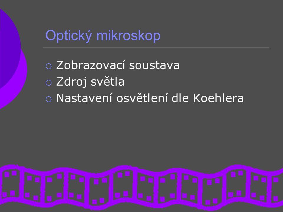 Optický mikroskop  Zobrazovací soustava  Zdroj světla  Nastavení osvětlení dle Koehlera