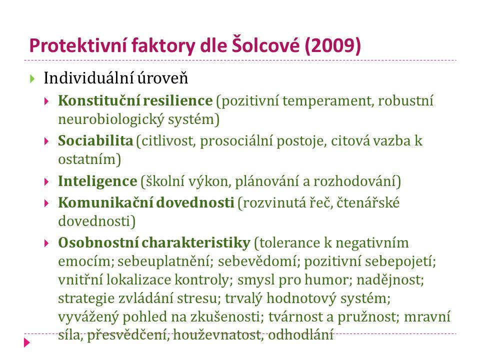 Protektivní faktory dle Šolcové (2009)  Individuální úroveň  Konstituční resilience (pozitivní temperament, robustní neurobiologický systém)  Sociabilita (citlivost, prosociální postoje, citová vazba k ostatním)  Inteligence (školní výkon, plánování a rozhodování)  Komunikační dovednosti (rozvinutá řeč, čtenářské dovednosti)  Osobnostní charakteristiky (tolerance k negativním emocím; sebeuplatnění; sebevědomí; pozitivní sebepojetí; vnitřní lokalizace kontroly; smysl pro humor; nadějnost; strategie zvládání stresu; trvalý hodnotový systém; vyvážený pohled na zkušenosti; tvárnost a pružnost; mravní síla, přesvědčení, houževnatost, odhodlání