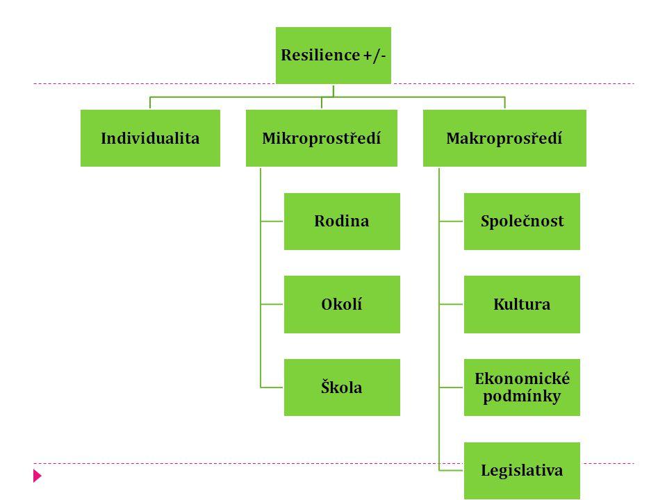 Resilience +/- IndividualitaMikroprostředí Rodina Okolí Škola Makroprosředí Společnost Kultura Ekonomické podmínky Legislativa
