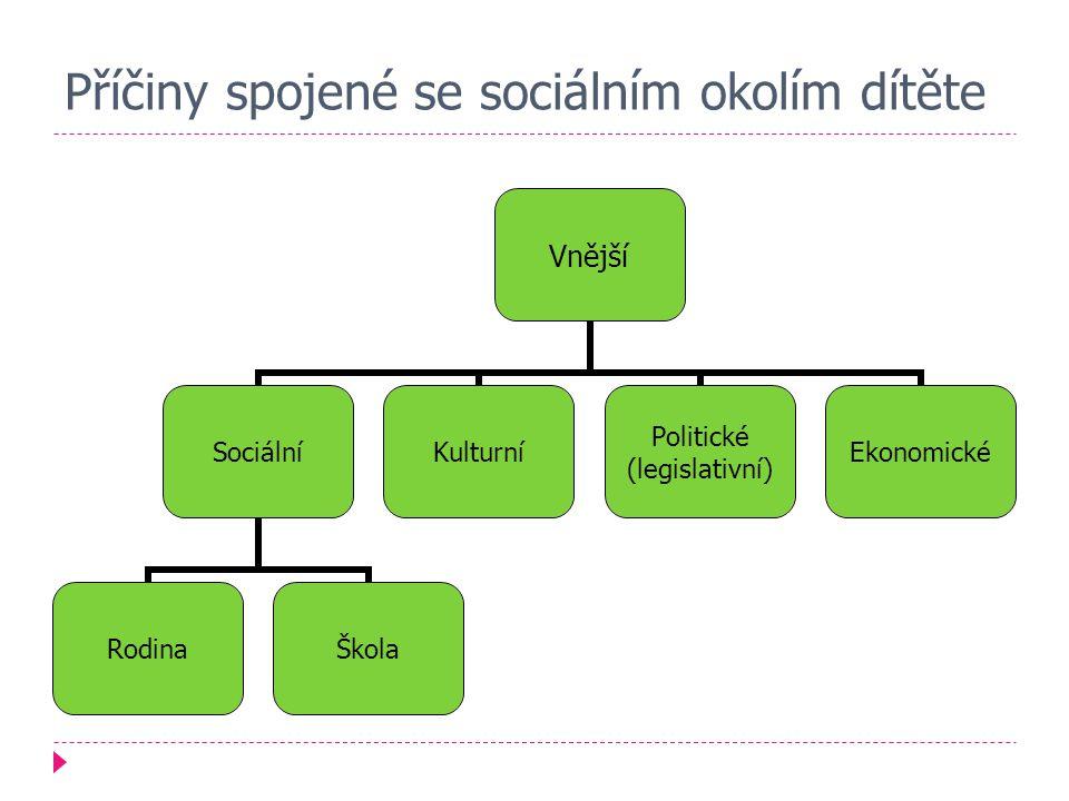 Příčiny spojené se sociálním okolím dítěte Vnější Sociální RodinaŠkola Kulturní Politické (legislativní) Ekonomické