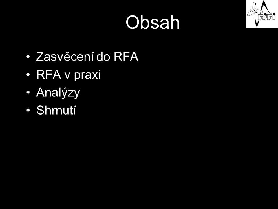 Obsah Zasvěcení do RFA RFA v praxi Analýzy Shrnutí