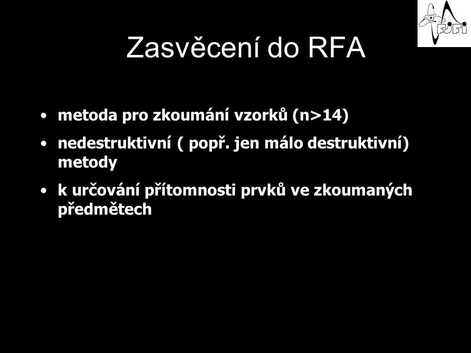 Zasvěcení do RFA metoda pro zkoumání vzorků (n>14) nedestruktivní ( popř.