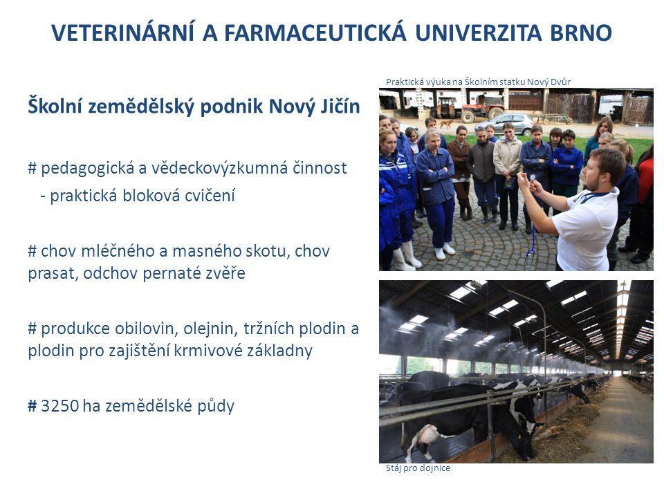 VETERINÁRNÍ A FARMACEUTICKÁ UNIVERZITA BRNO Školní zemědělský podnik Nový Jičín # pedagogická a vědeckovýzkumná činnost - praktická bloková cvičení # chov mléčného a masného skotu, chov prasat, odchov pernaté zvěře # produkce obilovin, olejnin, tržních plodin a plodin pro zajištění krmivové základny # 3250 ha zemědělské půdy Praktická výuka na Školním statku Nový Dvůr Stáj pro dojnice