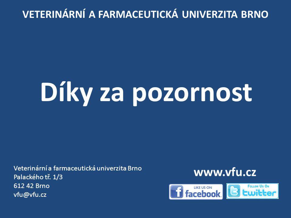 VETERINÁRNÍ A FARMACEUTICKÁ UNIVERZITA BRNO Díky za pozornost Veterinární a farmaceutická univerzita Brno Palackého tř.