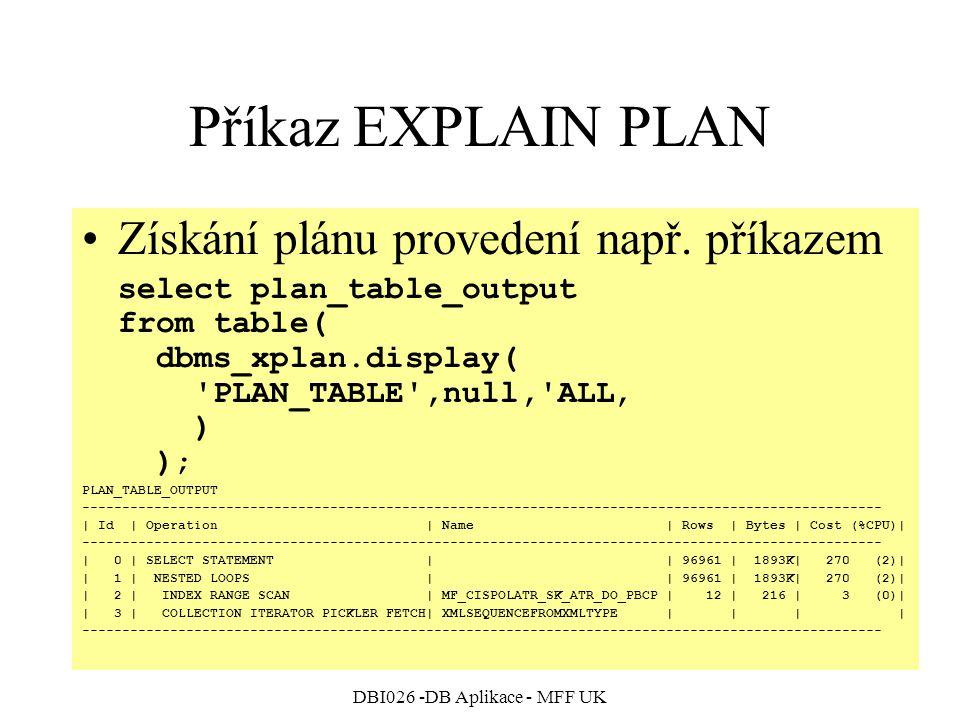 DBI026 -DB Aplikace - MFF UK Příkaz EXPLAIN PLAN Získání plánu provedení např. příkazem select plan_table_output from table( dbms_xplan.display( 'PLAN