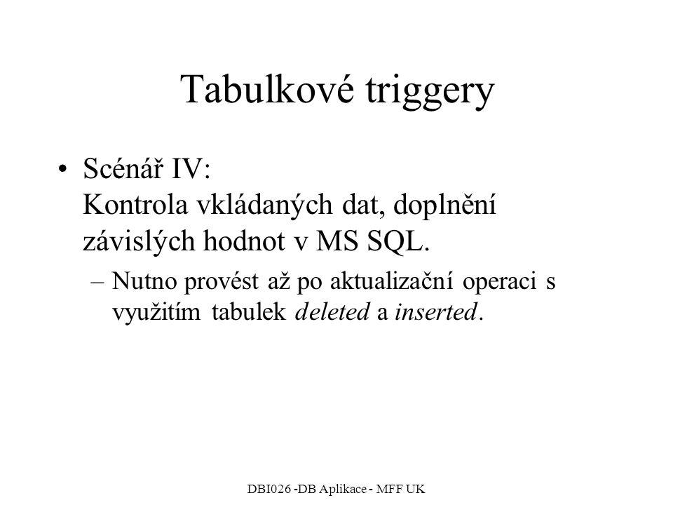 DBI026 -DB Aplikace - MFF UK Tabulkové triggery Scénář IV: Kontrola vkládaných dat, doplnění závislých hodnot v MS SQL.