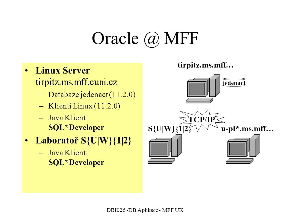 DBI026 -DB Aplikace - MFF UK Oracle @ MFF Linux Server tirpitz.ms.mff.cuni.cz –Databáze jedenact (11.2.0) –Klienti Linux (11.2.0) –Java Klient: SQL*De