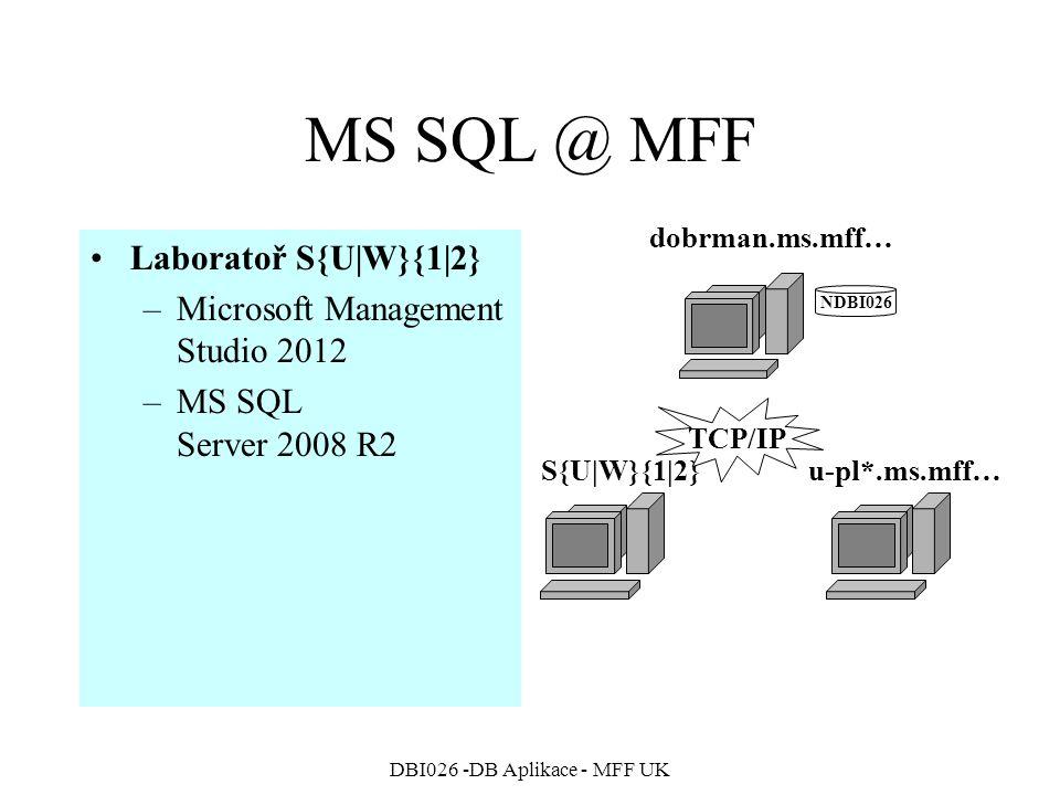 DBI026 -DB Aplikace - MFF UK MS SQL @ MFF Laboratoř S{U|W}{1|2} –Microsoft Management Studio 2012 –MS SQL Server 2008 R2 NDBI026 dobrman.ms.mff… S{U|W