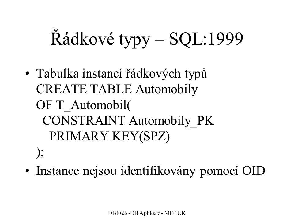 DBI026 -DB Aplikace - MFF UK Řádkové typy – SQL:1999 Tabulka instancí řádkových typů CREATE TABLE Automobily OF T_Automobil( CONSTRAINT Automobily_PK PRIMARY KEY(SPZ) ); Instance nejsou identifikovány pomocí OID