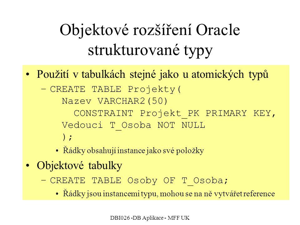 DBI026 -DB Aplikace - MFF UK Objektové rozšíření Oracle strukturované typy Použití v tabulkách stejné jako u atomických typů –CREATE TABLE Projekty( Nazev VARCHAR2(50) CONSTRAINT Projekt_PK PRIMARY KEY, Vedouci T_Osoba NOT NULL ); Řádky obsahují instance jako své položky Objektové tabulky –CREATE TABLE Osoby OF T_Osoba; Řádky jsou instancemi typu, mohou se na ně vytvářet reference