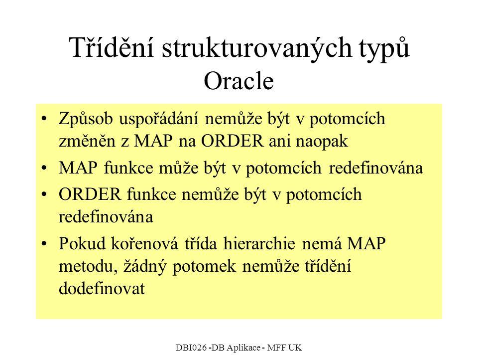 DBI026 -DB Aplikace - MFF UK Třídění strukturovaných typů Oracle Způsob uspořádání nemůže být v potomcích změněn z MAP na ORDER ani naopak MAP funkce může být v potomcích redefinována ORDER funkce nemůže být v potomcích redefinována Pokud kořenová třída hierarchie nemá MAP metodu, žádný potomek nemůže třídění dodefinovat
