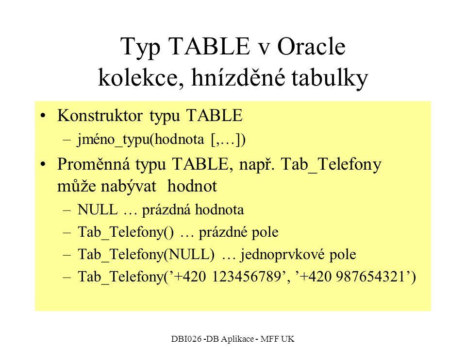 DBI026 -DB Aplikace - MFF UK Typ TABLE v Oracle kolekce, hnízděné tabulky Konstruktor typu TABLE –jméno_typu(hodnota [,…]) Proměnná typu TABLE, např.