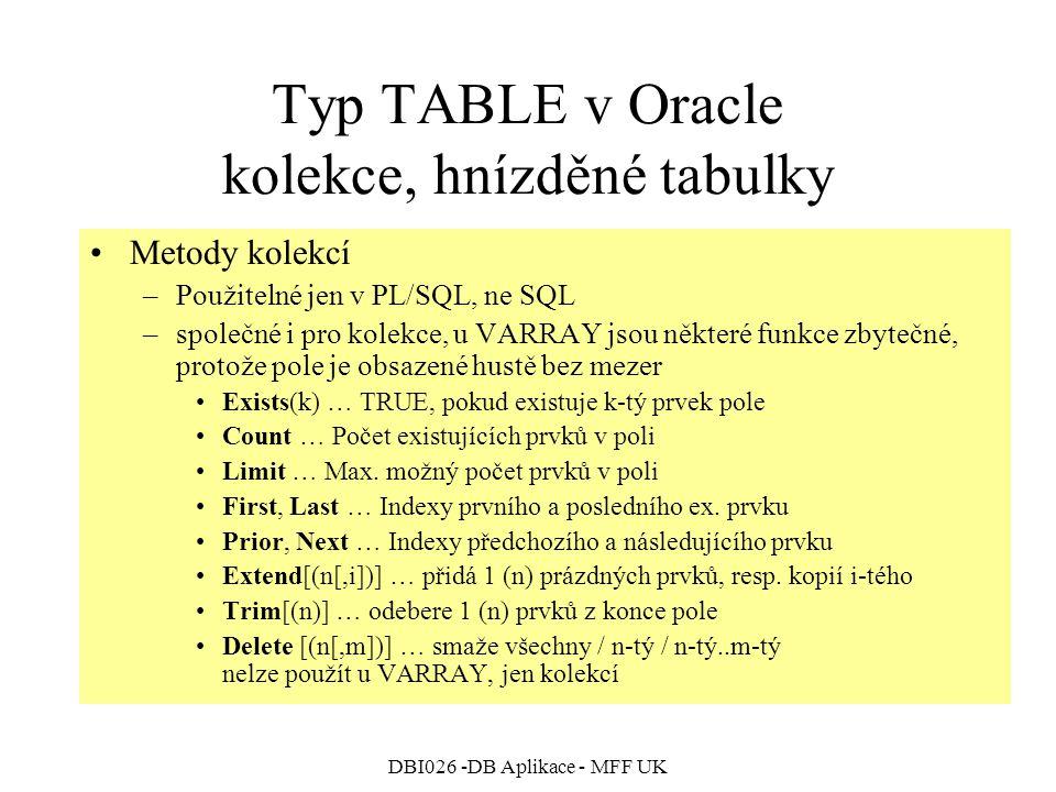 DBI026 -DB Aplikace - MFF UK Typ TABLE v Oracle kolekce, hnízděné tabulky Metody kolekcí –Použitelné jen v PL/SQL, ne SQL –společné i pro kolekce, u VARRAY jsou některé funkce zbytečné, protože pole je obsazené hustě bez mezer Exists(k) … TRUE, pokud existuje k-tý prvek pole Count … Počet existujících prvků v poli Limit … Max.