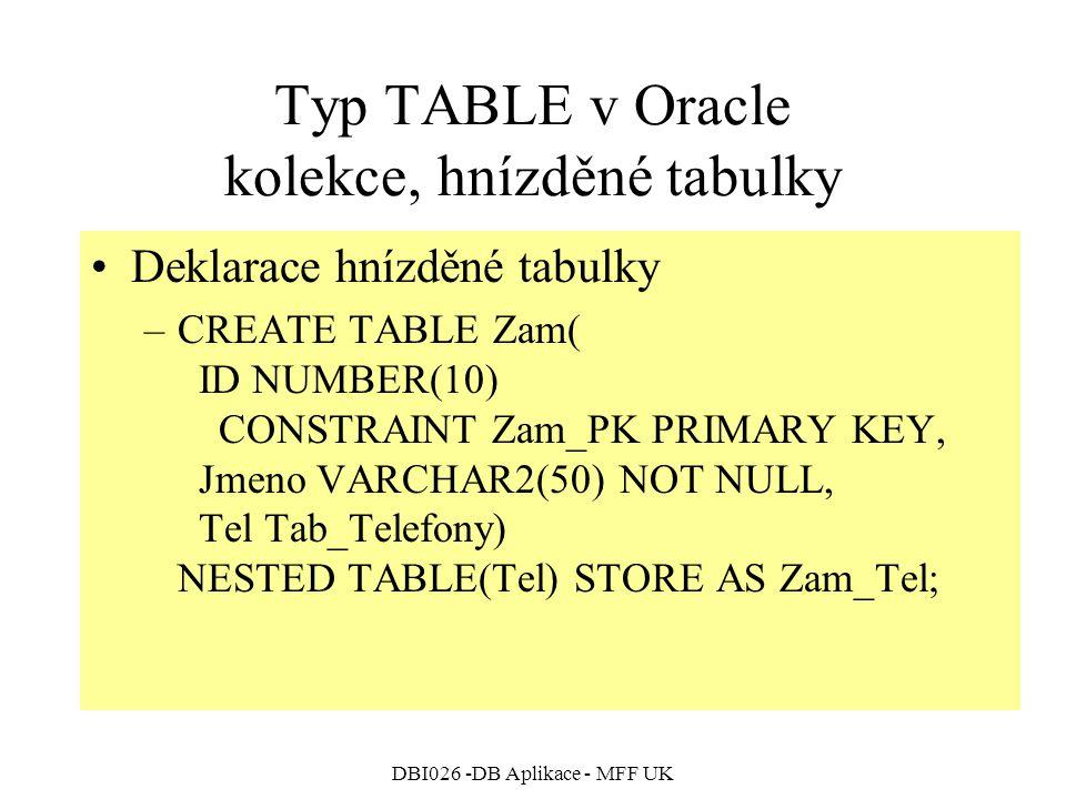 DBI026 -DB Aplikace - MFF UK Typ TABLE v Oracle kolekce, hnízděné tabulky Deklarace hnízděné tabulky –CREATE TABLE Zam( ID NUMBER(10) CONSTRAINT Zam_PK PRIMARY KEY, Jmeno VARCHAR2(50) NOT NULL, Tel Tab_Telefony) NESTED TABLE(Tel) STORE AS Zam_Tel;