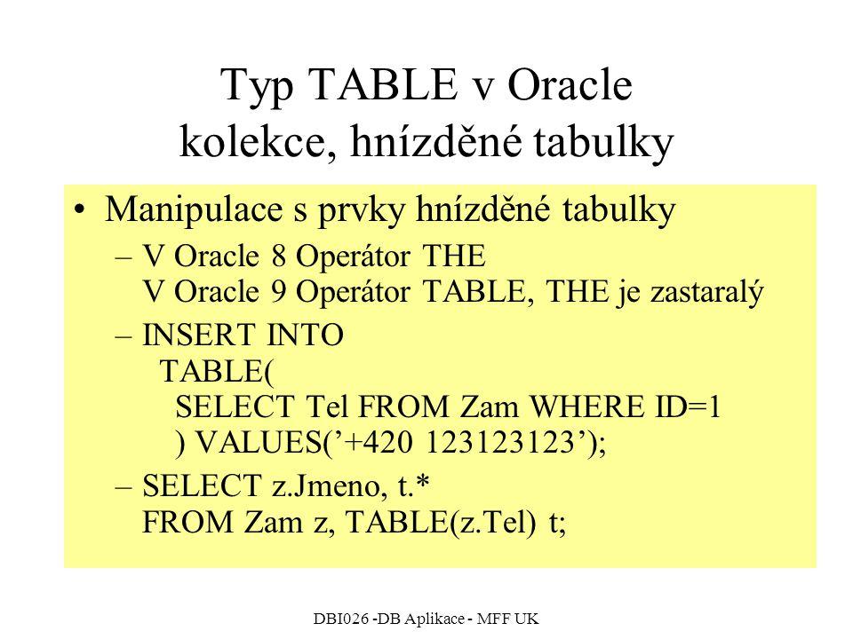 DBI026 -DB Aplikace - MFF UK Typ TABLE v Oracle kolekce, hnízděné tabulky Manipulace s prvky hnízděné tabulky –V Oracle 8 Operátor THE V Oracle 9 Oper