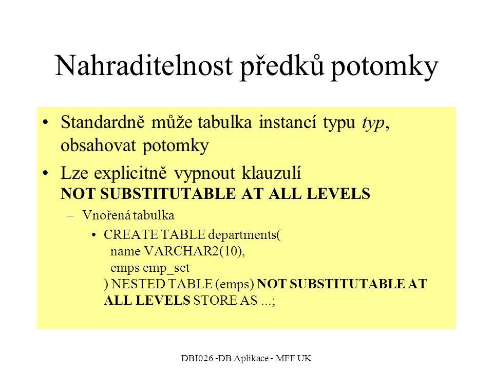DBI026 -DB Aplikace - MFF UK Nahraditelnost předků potomky Standardně může tabulka instancí typu typ, obsahovat potomky Lze explicitně vypnout klauzulí NOT SUBSTITUTABLE AT ALL LEVELS –Vnořená tabulka CREATE TABLE departments( name VARCHAR2(10), emps emp_set ) NESTED TABLE (emps) NOT SUBSTITUTABLE AT ALL LEVELS STORE AS...;