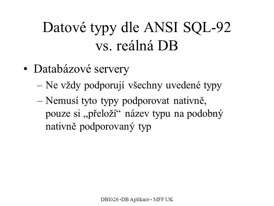 DBI026 -DB Aplikace - MFF UK Datové typy dle ANSI SQL-92 vs. reálná DB Databázové servery –Ne vždy podporují všechny uvedené typy –Nemusí tyto typy po