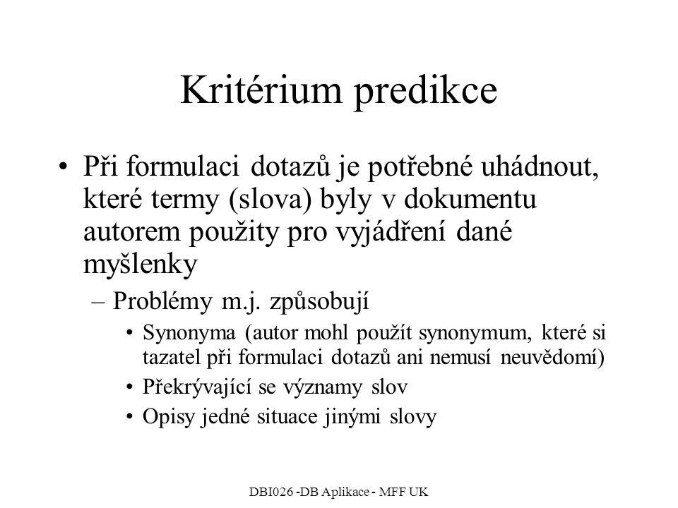 DBI026 -DB Aplikace - MFF UK Kritérium predikce Při formulaci dotazů je potřebné uhádnout, které termy (slova) byly v dokumentu autorem použity pro vyjádření dané myšlenky –Problémy m.j.