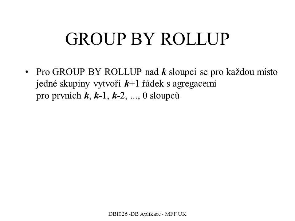 DBI026 -DB Aplikace - MFF UK GROUP BY ROLLUP Pro GROUP BY ROLLUP nad k sloupci se pro každou místo jedné skupiny vytvoří k+1 řádek s agregacemi pro prvních k, k-1, k-2,..., 0 sloupců